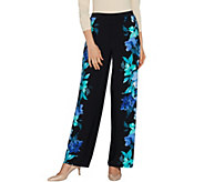 Susan Graver Petite Printed Liquid Knit Pull-On Palazzo Pants - Petite - A287295
