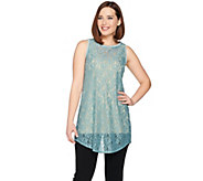LOGO Layers by Lori Goldstein Long Lace Tank with Shirttail Hem - A287995