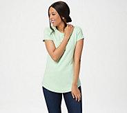 Isaac Mizrahi Live! Essentials Pima Cotton Curved Hem T-Shirt - A288195