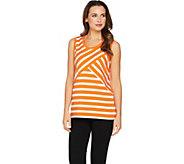 Susan Graver Weekend Striped Cotton Modal Sleeveless Top - A288495