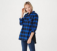Belle by Kim Gravel Ombre Plaid Woven Shirt - A293695