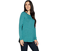 H by Halston Super Soft Knit Long Sleeve Tunic with Faux Suede Back - A293995