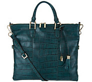 G.I.L.I. Croco Embossed Italian Leather Convertible Satchel - A296995