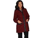 Dennis Basso Plaid Stand Collar Jacket with Scarf - A298295