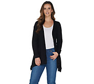 H by Halston Long Sleeve Handkerchief Hem Open Front Cardigan - A303195