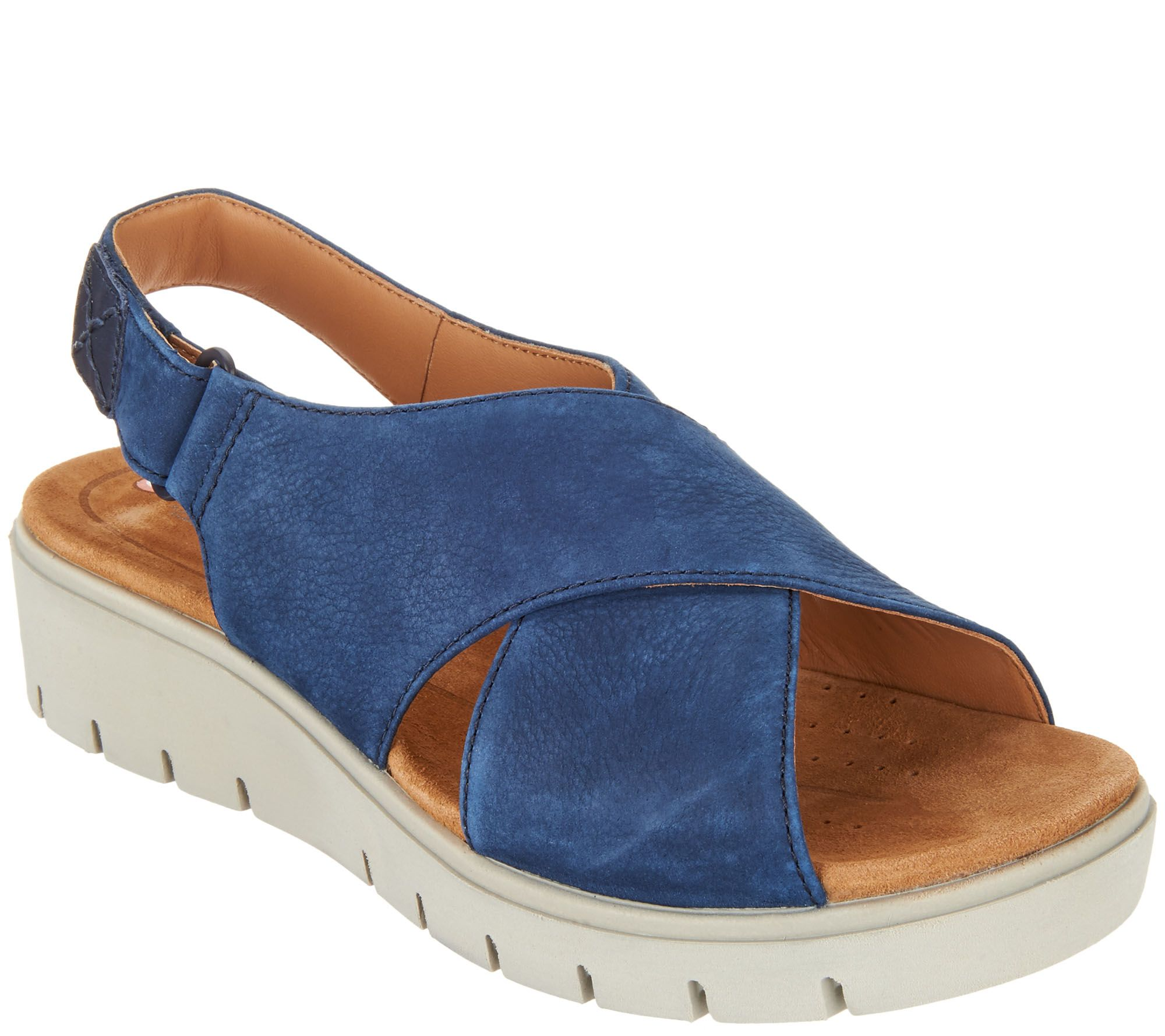 89c399773f Clarks UnStructured Leather Low Wedge Sandals - Un Karely Hail - Page 1 —  QVC.com