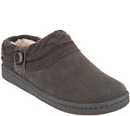 Clarks Suede Womens Slippers with Cable Knit Trim - A344995
