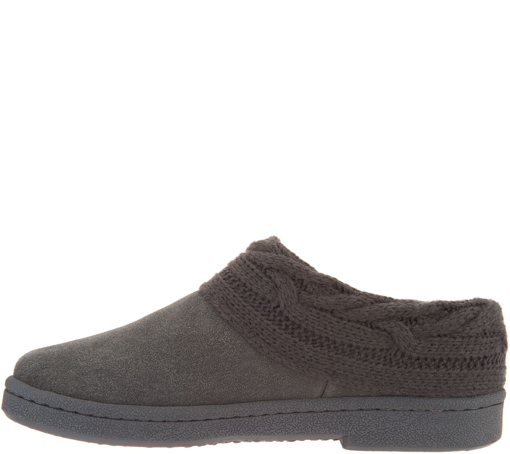 a3ca2f19cf173d Clarks Suede Women s Slippers with Cable Knit Trim - Page 1 — QVC.com
