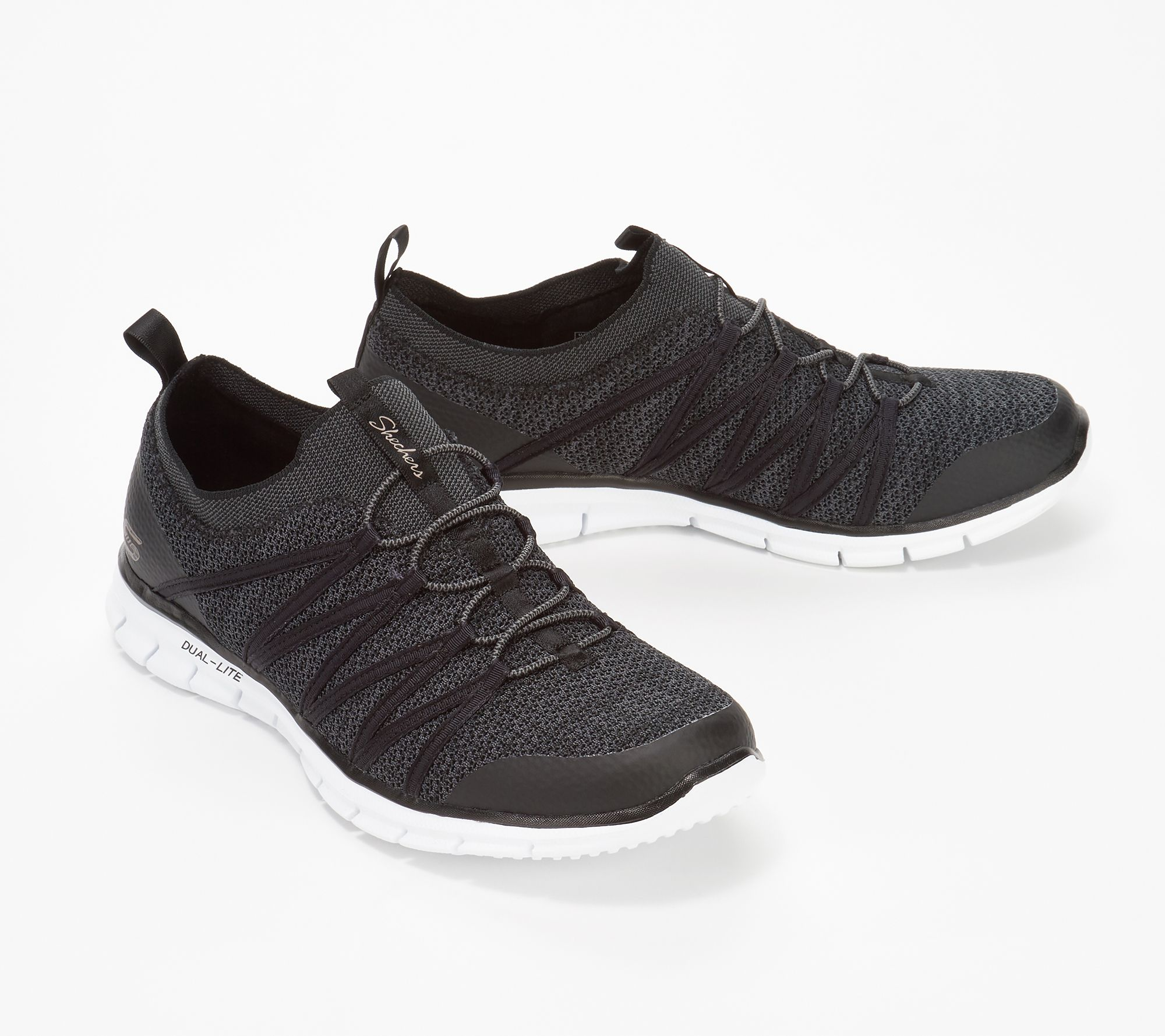brede selectie ooit populair loopschoenen Skechers Stretch-Knit Bungee Slip-On Sneakers - Glider Tuneful — QVC.com