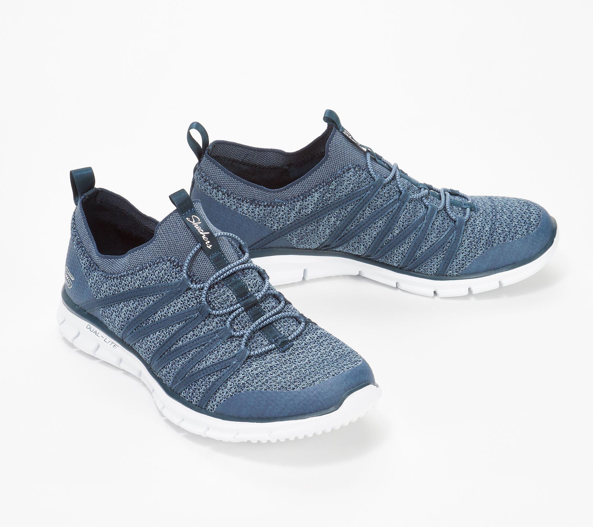 3e5b8fad362 Skechers Stretch-Knit Bungee Slip-On Sneakers - Glider Tuneful — QVC.com