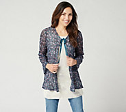 LOGO by Lori Goldstein Printed Sheer Lace Cardigan with Tie - A347195