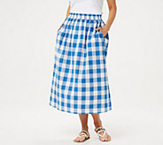 Joan Rivers Petite Buffalo Check Midi Skirt - A351495