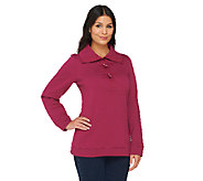 Denim & Co. Long Sleeve Sweatshirt with Shawl Collar and Toggles - A217396