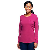Denim & Co. Essentials Round Neck Tee With Epaulets at Shoulders - A227896