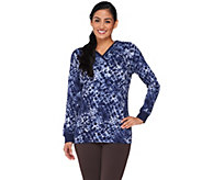Denim & Co. Active Waffle Knit Printed Top with Hood - A260496