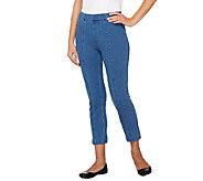 Isaac Mizrahi Live! Knit Denim Crop Jeans w/ Seam Detail - A263896