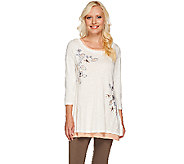 LOGO by Lori Goldstein Twin Set Embellished Top and Knit Tank - A264596