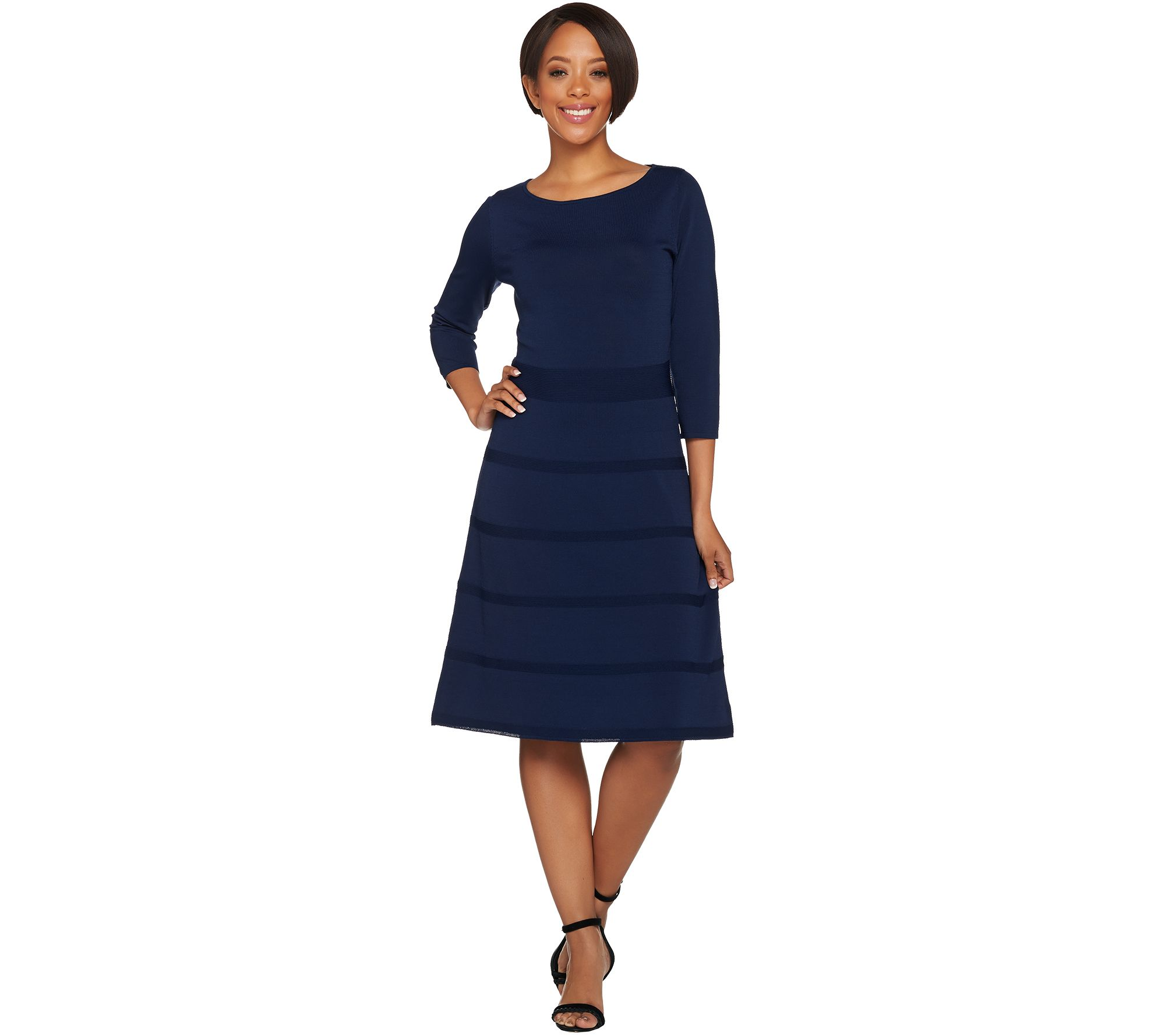 Dennis Basso 34 Sleeve Fit And Flare Sweater Dress Page 1 Qvccom