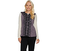 Bob Mackies Sequin and Embroidered Fleece Vest - A282196