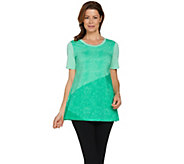 H by Halston Short Sleeve Color Block Print Knit Tunic - A288596