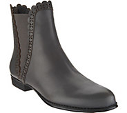 Isaac Mizrahi Live! Leather Ankle Boots with Perforated Scallop Details - A294596