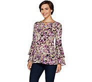 Belle by Kim Gravel Woven Blouse with Ruffled Sleeves - A296596