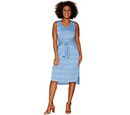 H by Halston Regular Knit Pattern Midi Dress with Waist Tie - A303196