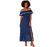 Vince Camuto Ruffled Off-the- Shoulder Belted Maxi Dress - A308796