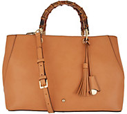 G.I.L.I. Leather Almalfi Tote with Bamboo Handles - A310396