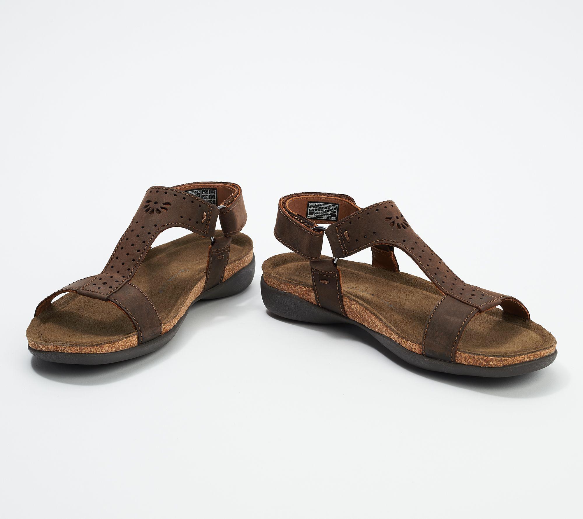 7ae19e82e39 KEEN Leather T-Strap Sandals - Kaci Ana — QVC.com