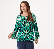 Dennis Basso Printed Caviar Crepe Top with Keyhole - A349296