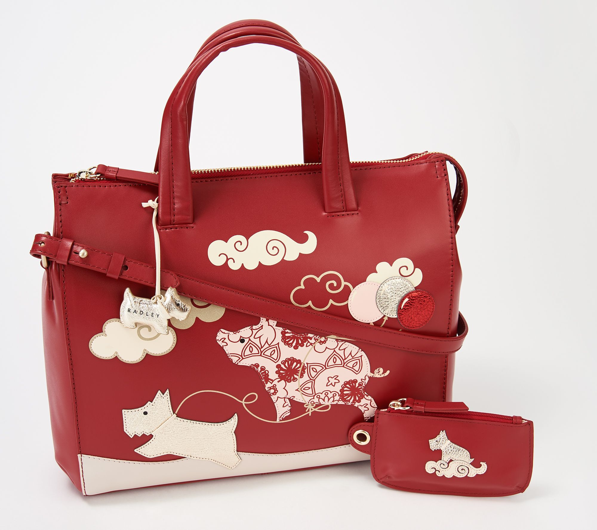 4a45beef RADLEY London If Pigs Could Fly Medium Satchel — QVC.com