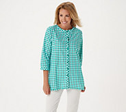 Joan Rivers 3/4-Sleeve Gingham Shirt with Fringe Hem - A351496