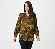 Joan Rivers Silky Camouflage Blouse - A366196