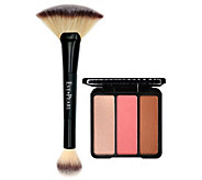 EVE PEARL Blush/Bronzer Trio and 204 Fan Highlighter Brush - A413596