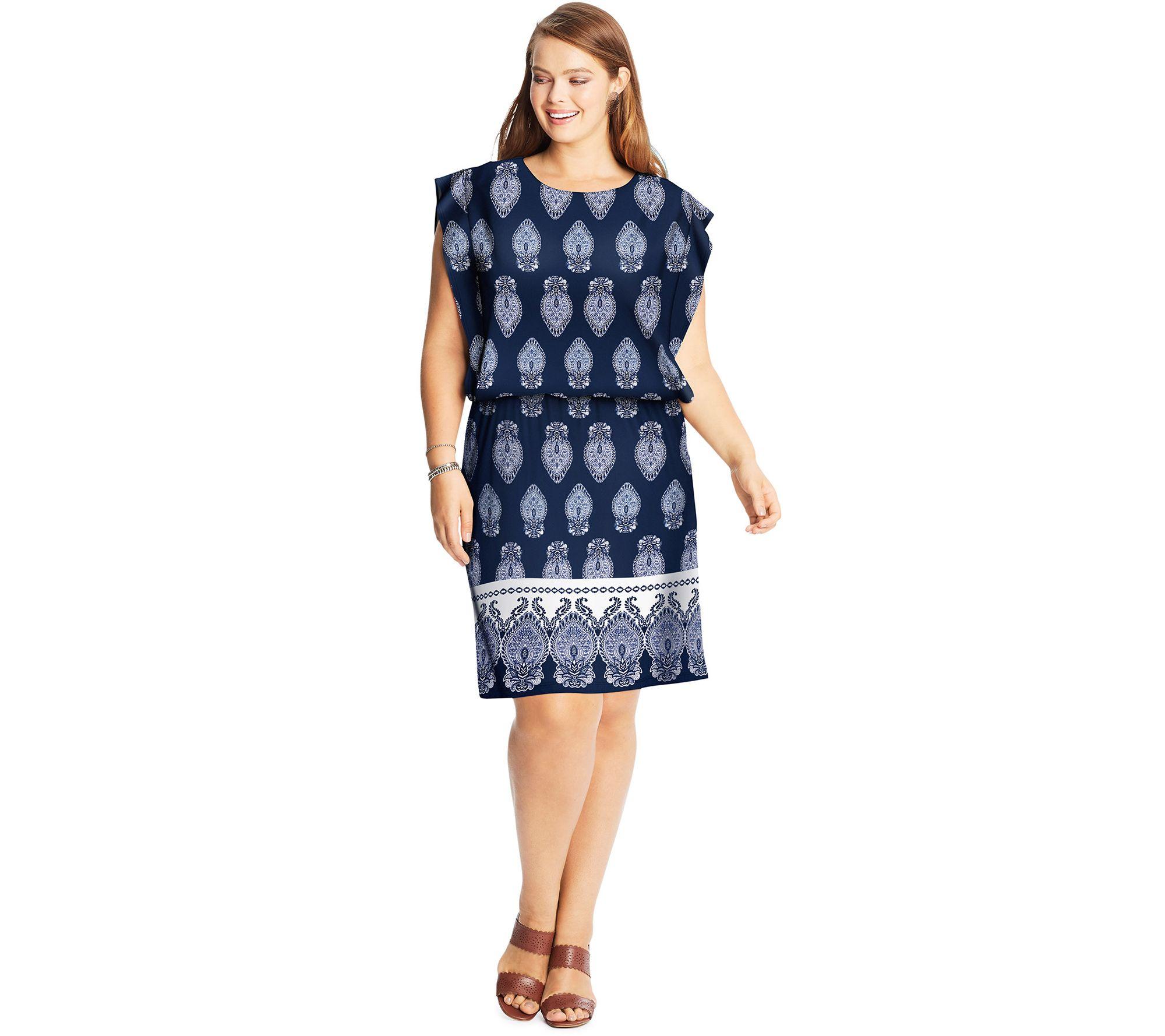 Just My Size Women\'s Plus Blouson Dress — QVC.com