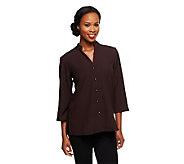 Susan Graver Stretch Crepe 3/4 Sleeve Mandarin Collar Shirt Jacket - A71996