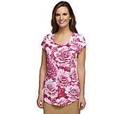 Isaac Mizrahi Live! Cabbage Floral Printed Knit T-Shirt - A252097