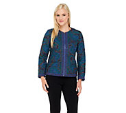 Isaac Mizrahi Live! Paisley Quilted Zip Front Jacket - A256497