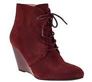 Isaac Mizrahi Live! Lace-up Suede Wedge Boots - A269797
