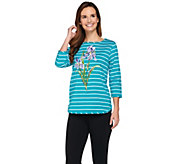 Bob Mackies Floral Embroidered Striped Knit Top - A273597