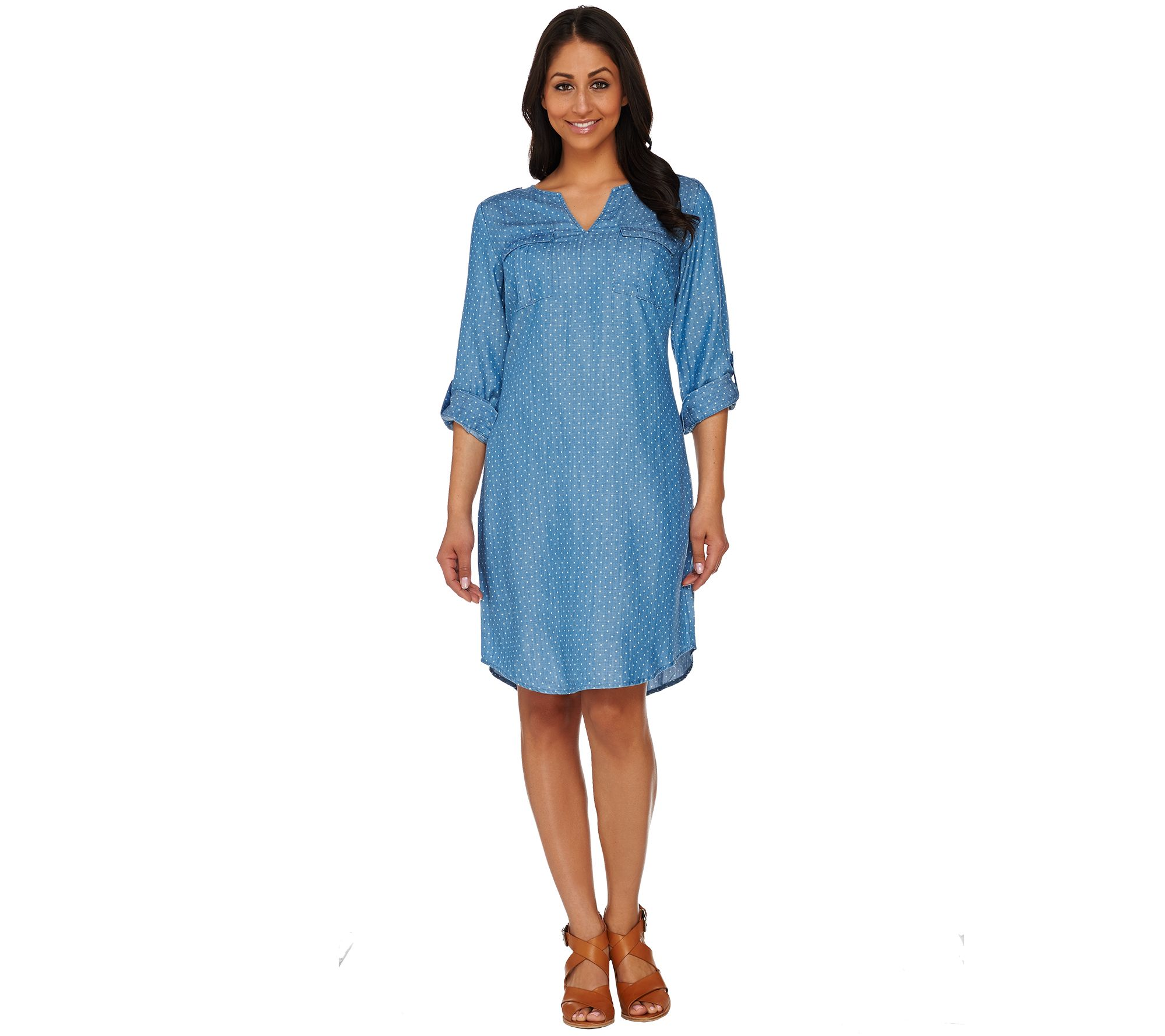 bbea858dfcf C. Wonder Polka Dot Print Chambray Shirt Dress with Pockets - Page 1 —  QVC.com