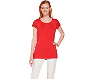H by Halston Short Sleeve Knit Top with Lace Detail - A288597