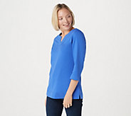 Denim & Co. Essentials 3/4 Sleeve Split V-Neck Top - A292197