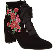 Isaac Mizrahi Live! Velvet Floral Embroidered Lace-up Booties - A294597