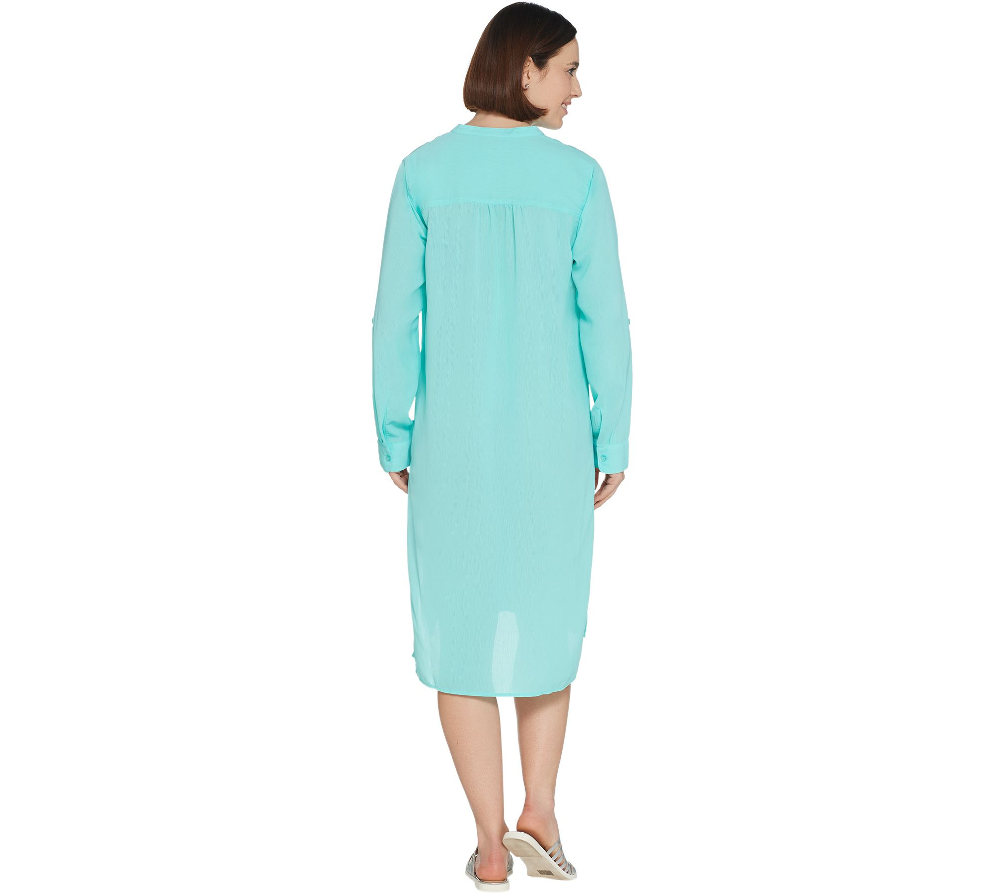 9457b59be2 Beach Crinkle Gauze Button Front Roll-Tab Sleeve Cover-Up - Page 1 — QVC.com