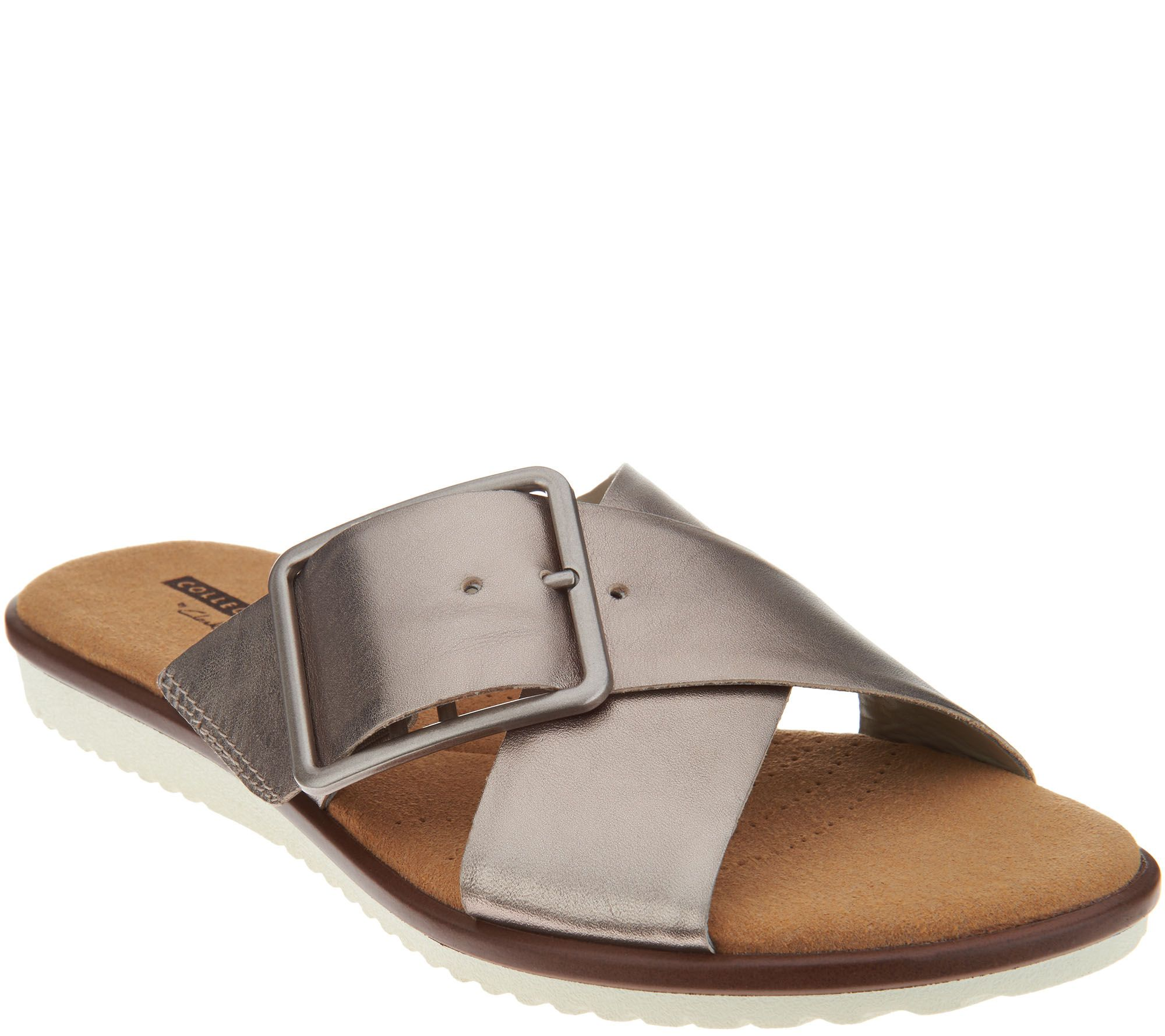 12d2914be301 Clarks Leather Cross Band Buckle Slides - Kele Heather - Page 1 — QVC.com