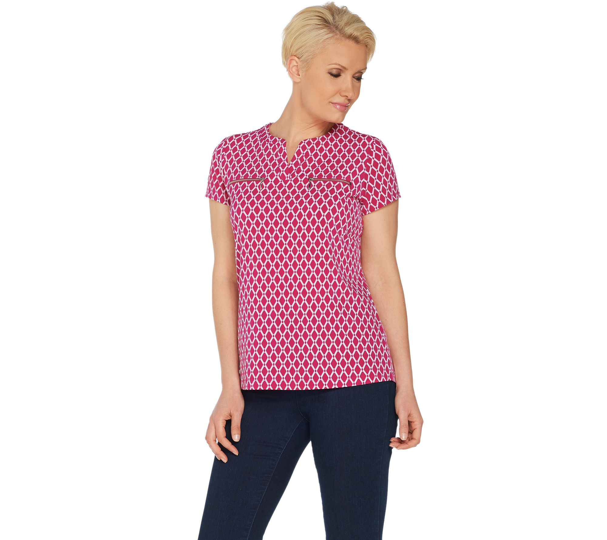 377870bff82 Susan Graver Printed Liquid Knit Top with Zipper Pockets - Page 1 — QVC.com