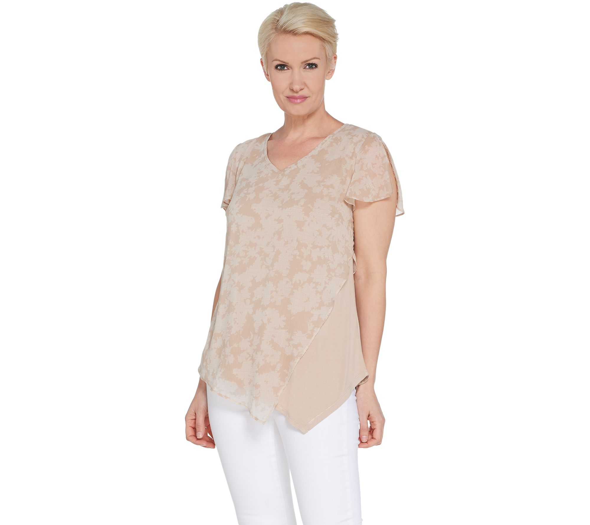 b2af328b7bf640 H by Halston Printed Chiffon Overlay Top w  Flutter Sleeve - Page 1 —  QVC.com