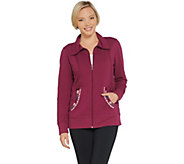 Denim & Co. Active Zip-Front Embroidered Knit Jacket - A309497